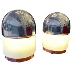 Pair of Salt and Pepper Lamps Metal Opaline Glass by Reggiani, Italy, 1970