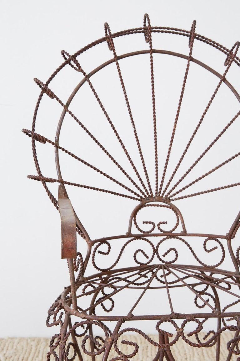 Pair of Salterini Iron Peacock Salesman Sample Chairs For Sale 5