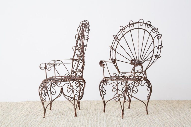 Pair of Salterini Iron Peacock Salesman Sample Chairs For Sale 6
