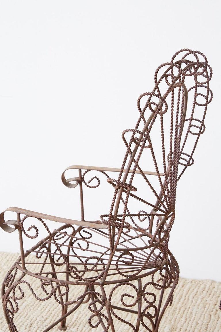 Pair of Salterini Iron Peacock Salesman Sample Chairs For Sale 7