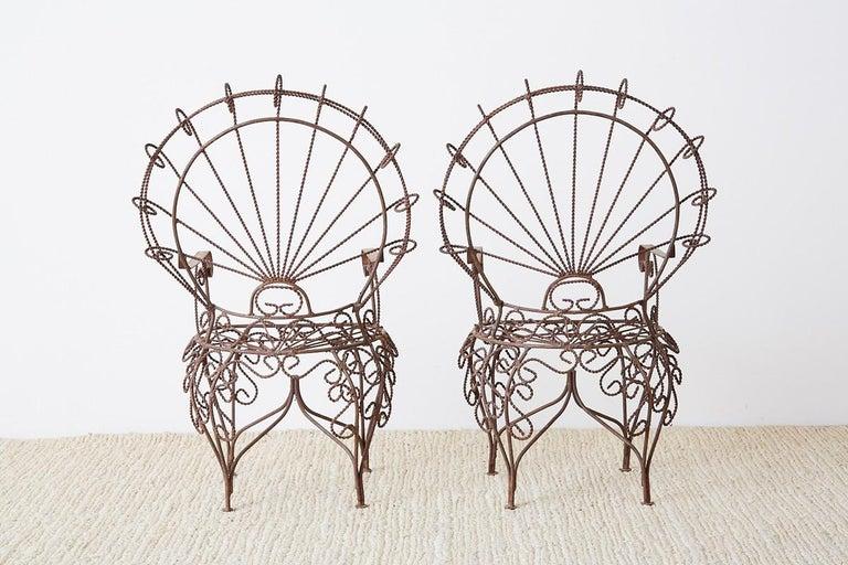 Pair of Salterini Iron Peacock Salesman Sample Chairs For Sale 8