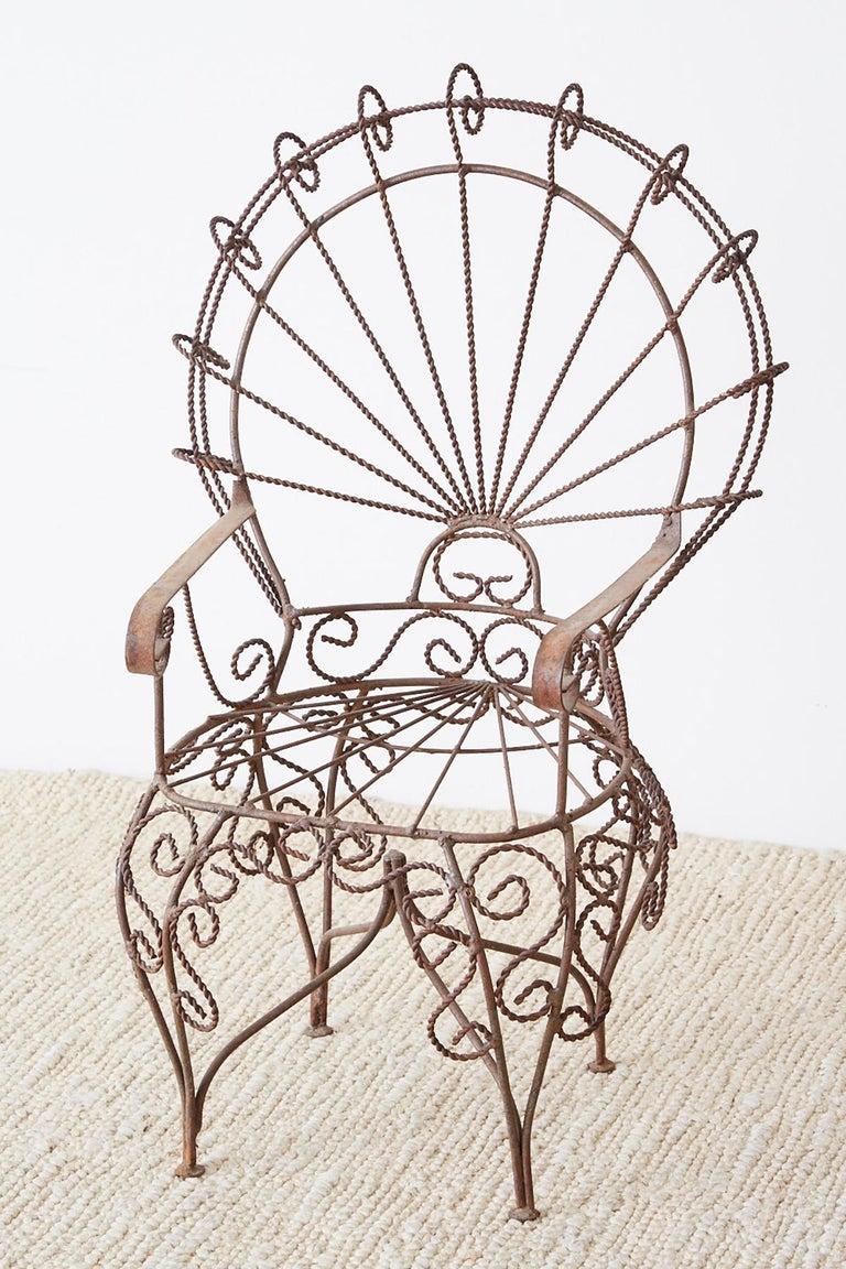 Mid-Century Modern Pair of Salterini Iron Peacock Salesman Sample Chairs For Sale
