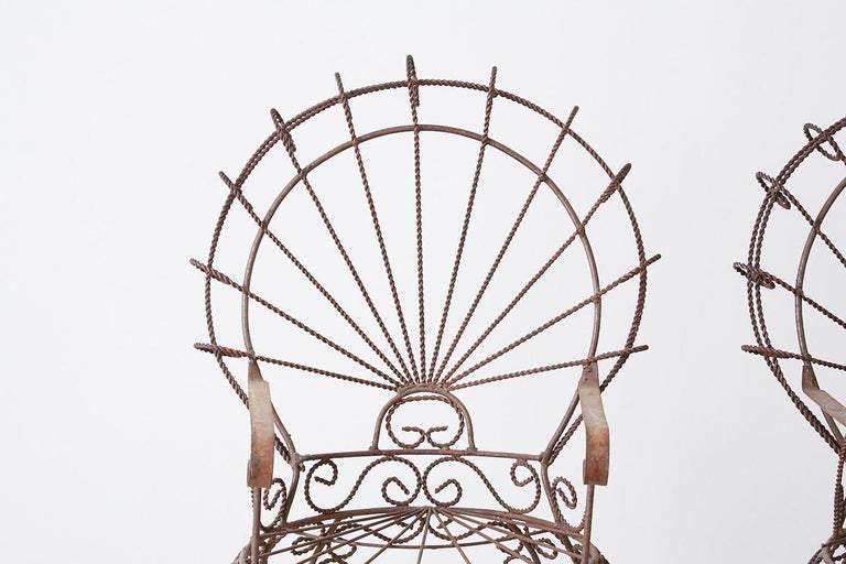 American Pair of Salterini Iron Peacock Salesman Sample Chairs For Sale