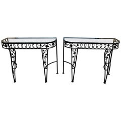 Pair of Salterini Leaf and Vine Console Tables with Glass Tops