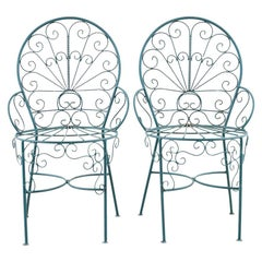 Pair of Salterini Style Iron Garden Patio Chairs