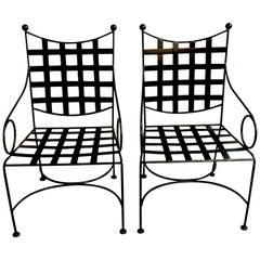 Pair of Salterini Style Woven Wrought Iron Patio Armchairs