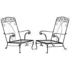 Pair of Salterini Style Wrought Iron Armchairs, 1930s