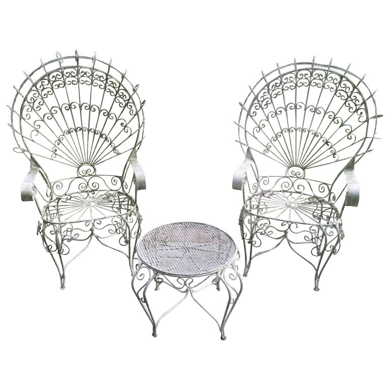 Pair Of Salterini Style Wrought Iron Fan Back Pea Patio Chairs And Table For