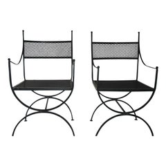 Pair of Salterini Wrought Iron Curule Chairs