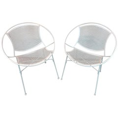 Pair of Salterini Wrought Iron Radar Chairs in White