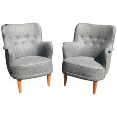 Pair of Samas Armchairs by Carl Malmsten for O H Sjogren in Gray Wool