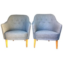 Pair of Samas Armchairs by Carl Malmsten for O H Sjogren in Gray Wool