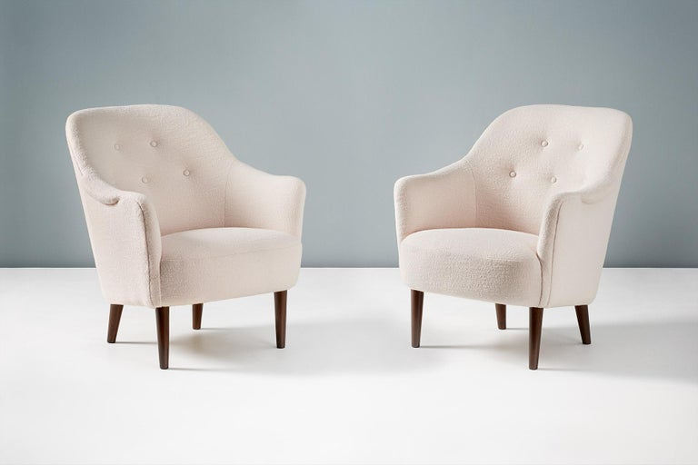 Pair of Sampsel Armchairs by Carl Malmsten, 1956 In Excellent Condition For Sale In London, GB