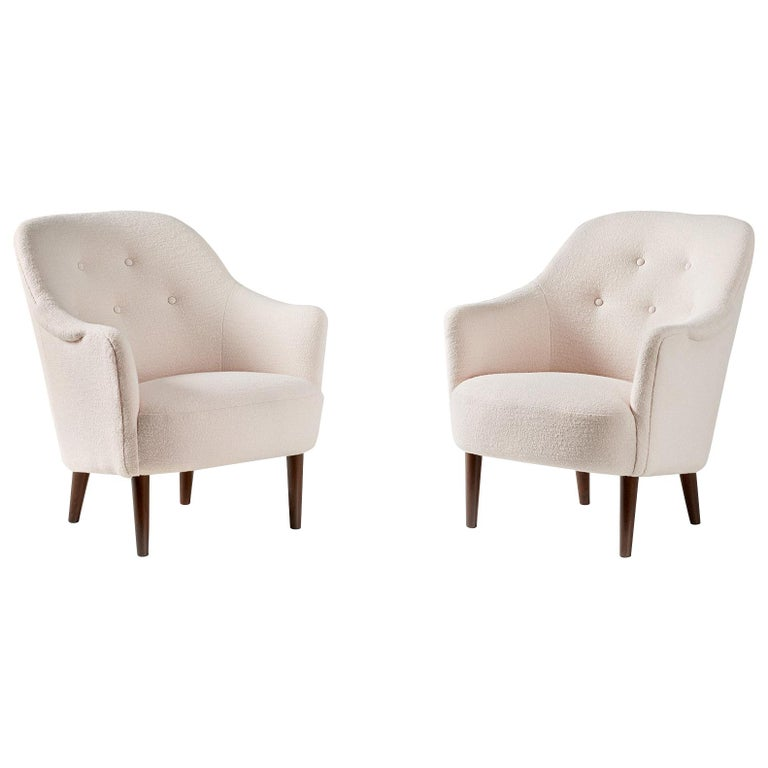 Pair of Sampsel Armchairs by Carl Malmsten, 1956 For Sale