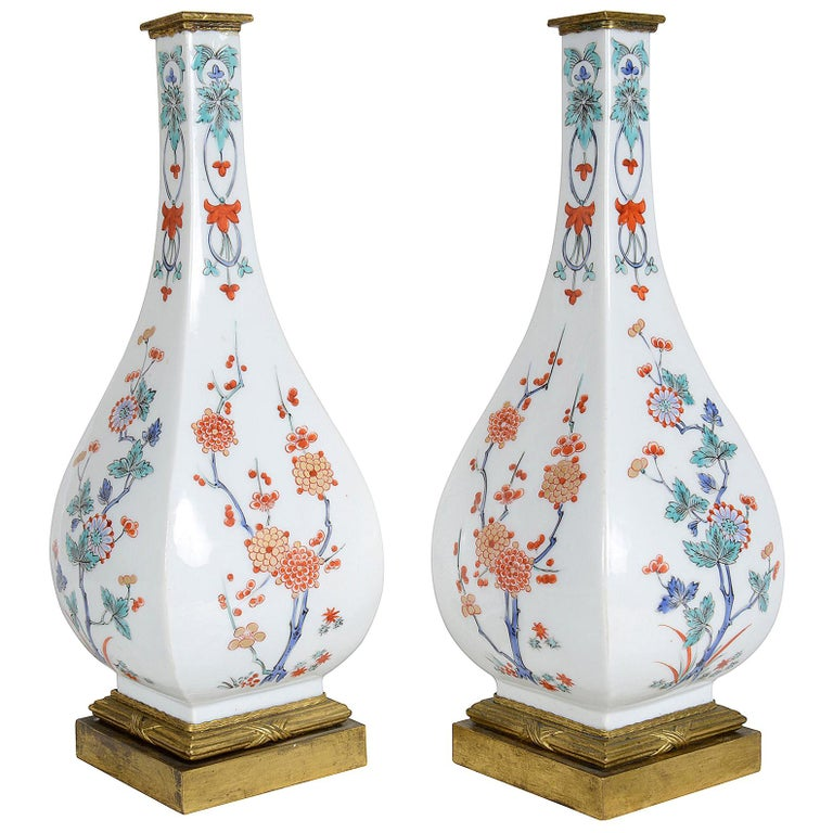 Samson pair of kakiemon-style vases, ca. 1880, offered by Patrick Moorhead Antiques