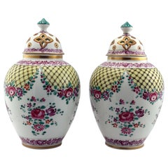 Pair of Samson Porcelain Covered Pot-Pouris