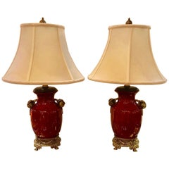 Pair of Sang De Boeuf Porcelain Lamps