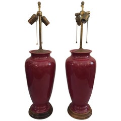 Pair of Sang de Boeuf Vintage Glazed Table Lamps
