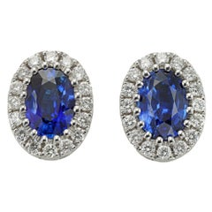 Pair of Sapphire and Diamond Cluster Earrings