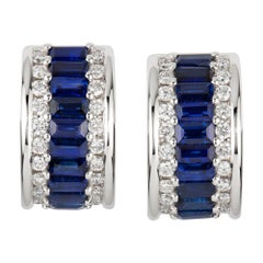 Pair of Sapphire and Diamond Huggie Earrings