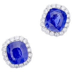 Pair of Sapphire Natural Ceylan Non Heated Earrings