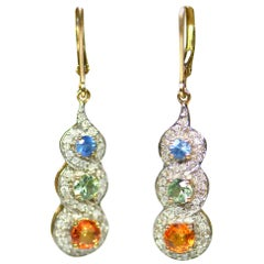 Pair of Sapphire Peridot and Citrine Three-Stone Drop Earrings