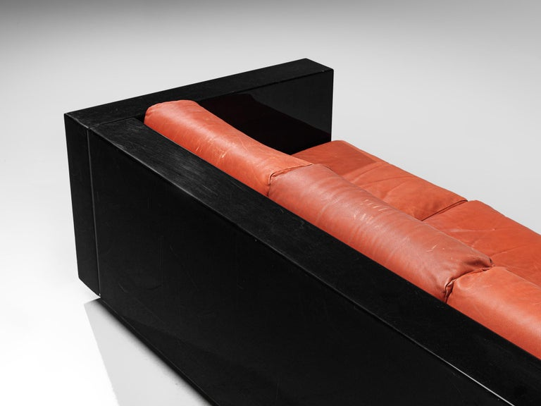 Pair of 'Saratoga' Black Sofas with Red Leather by Vignelli For Sale 5