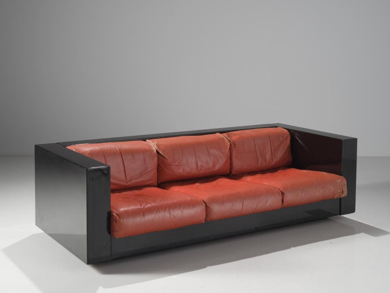 Pair of 'Saratoga' Black Sofas with Red Leather by Vignelli For Sale 6
