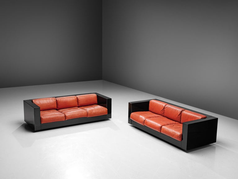 Mid-Century Modern Pair of 'Saratoga' Black Sofas with Red Leather by Vignelli For Sale