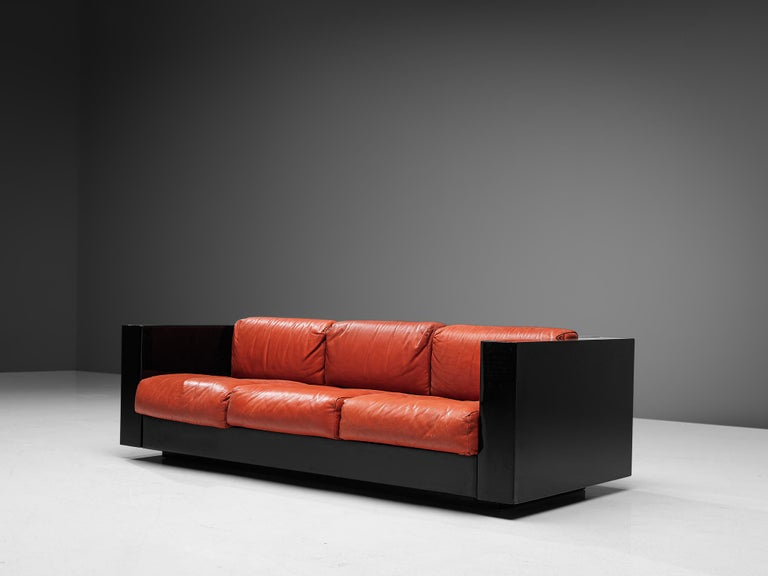 Pair of 'Saratoga' Black Sofas with Red Leather by Vignelli For Sale 2