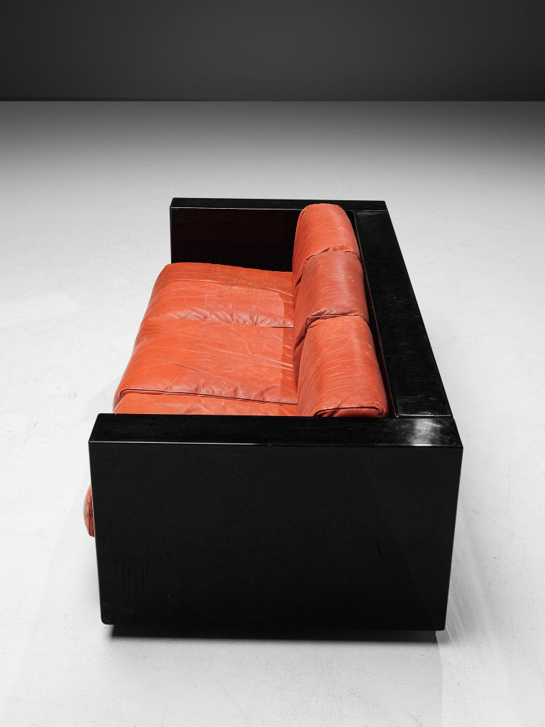 Pair of 'Saratoga' Black Sofas with Red Leather by Vignelli For Sale 3