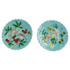 Pair of Sarreguemines Barbotine Enameled Plates Birds French, Late 19th Century