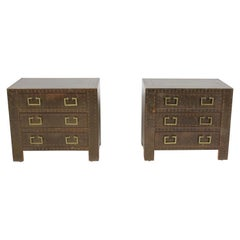 Pair of Sarreid Brass-Clad Chests Use as End Tables or Nightstands