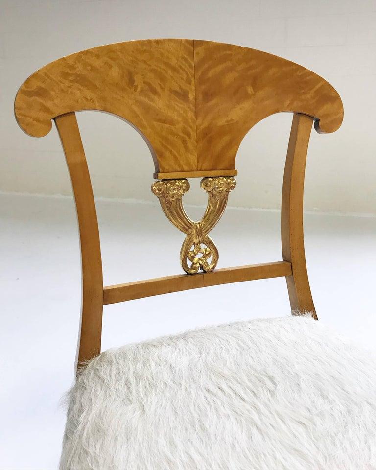 Pair of Satin Birch Biedermeier Chairs in Ivory Brazilian Cowhide, circa 1820 For Sale 2