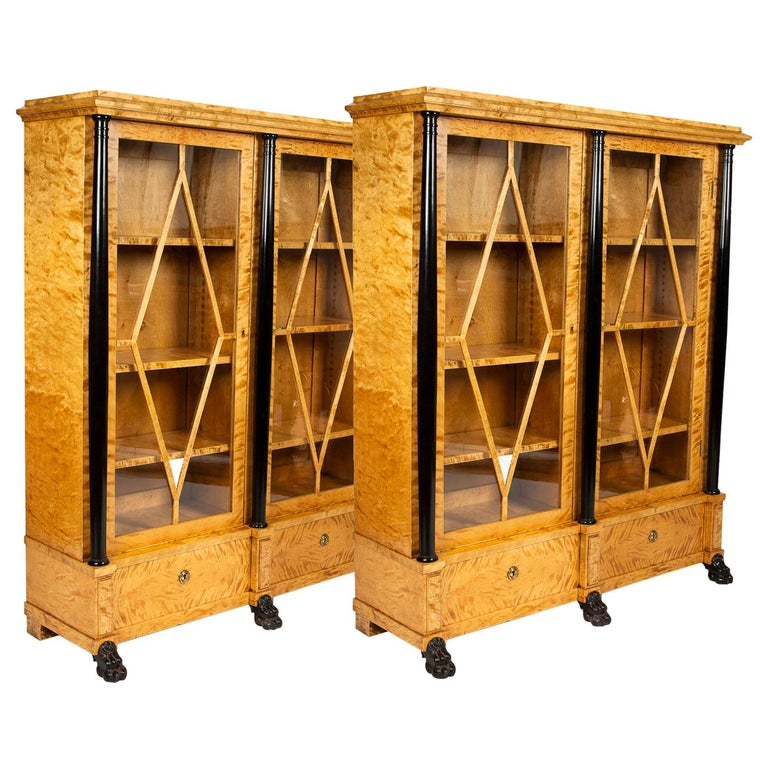 Pair of Satin Birch Bookcases For Sale