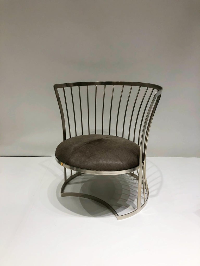 Modern Pair of Satin Nickel Lounge Chairs by Russell Woodard For Sale
