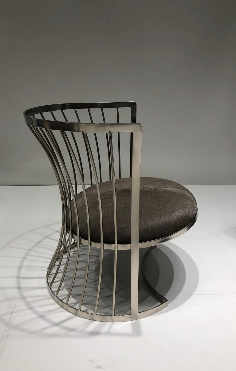 Mid-20th Century Pair of Satin Nickel Lounge Chairs by Russell Woodard For Sale
