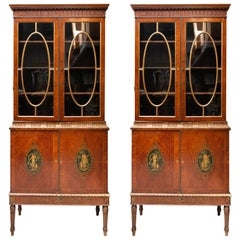 Pair of Satinwood Edwardian Adams Style Cabinets