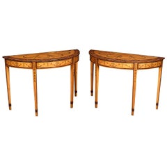 Pair of Satinwood Inlaid Neoclassical Style Demilune Console Tables