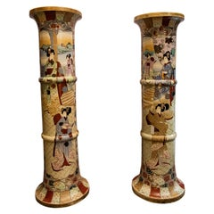 Pair of Satsuma Pedestals, 20th Century