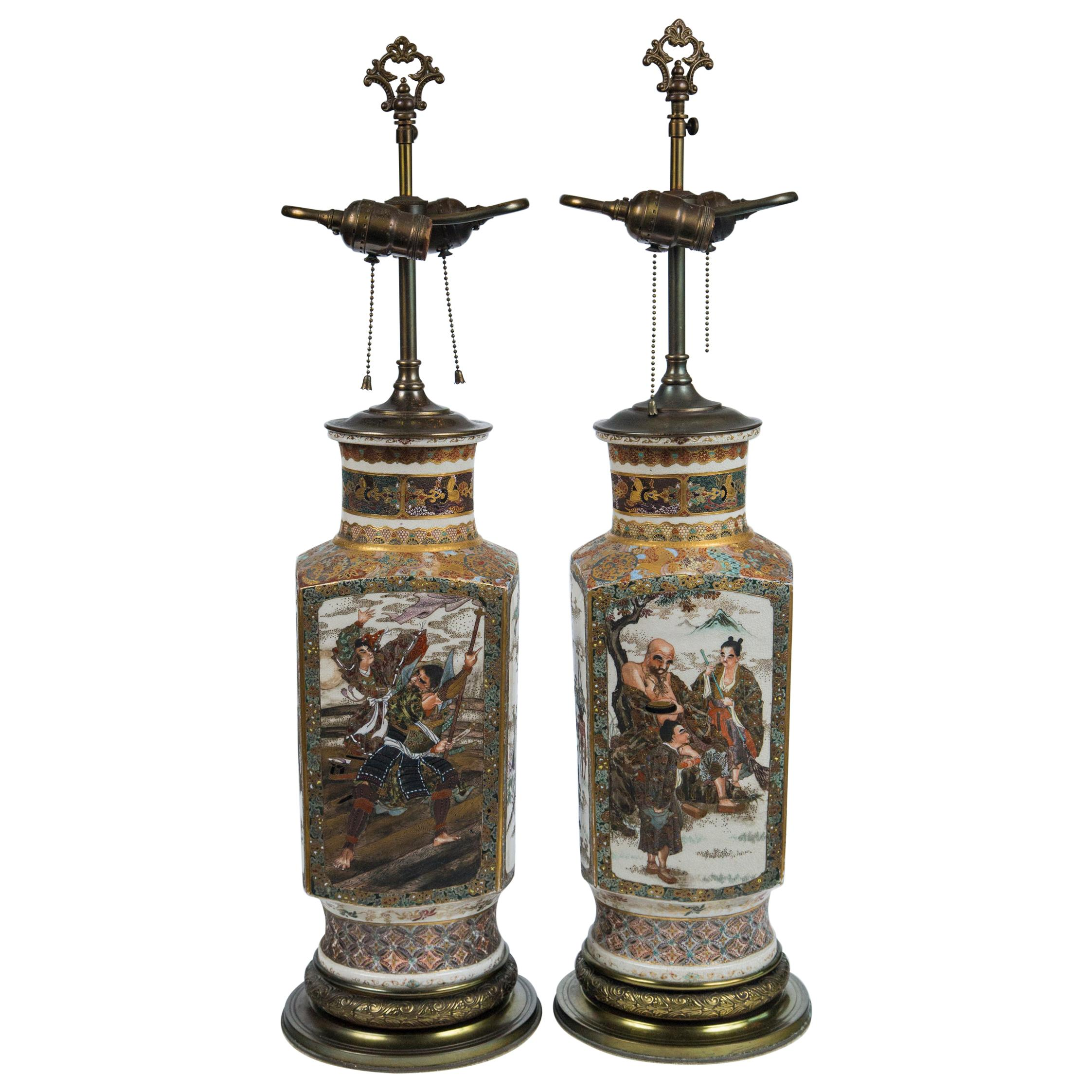 Pair of Satsuma Vases, Mounted as Lamps