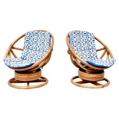 Pair of Saucer Form Swivel Lounge Bamboo Rattan Chairs, circa 1970s