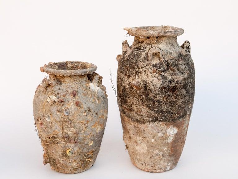 Other Pair of Sawankhalok Jars with Encrustations, Sawankhalok, Thailand, 15th Century For Sale