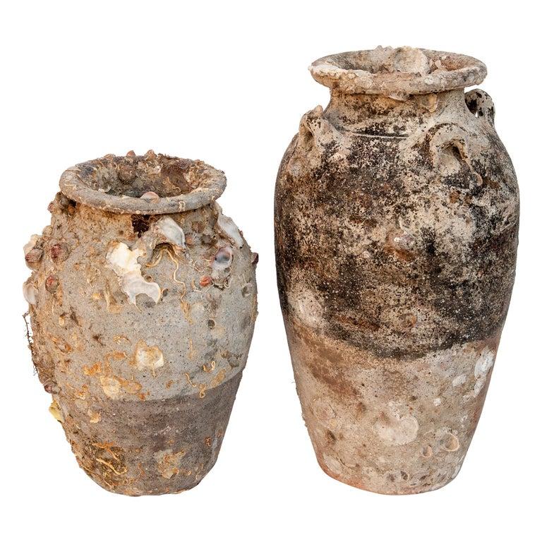 Pair of Sawankhalok Jars with Encrustations, Sawankhalok, Thailand, 15th Century For Sale