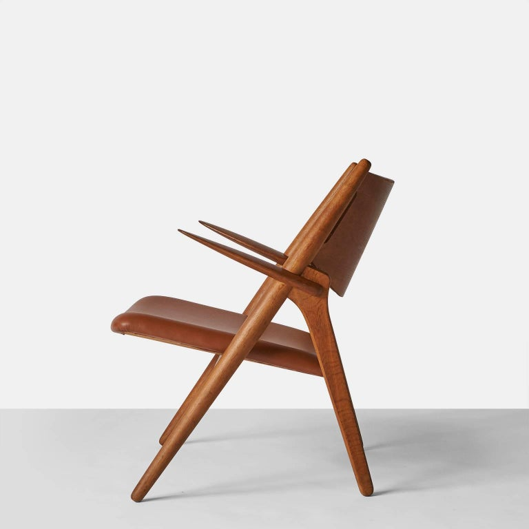 Pair of Sawbuck Chairs, Model CH-28 by Hans Wegner In Excellent Condition For Sale In San Francisco, CA