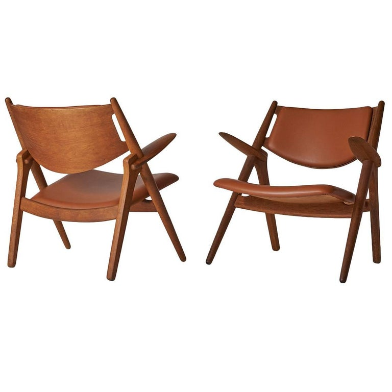 Pair of Sawbuck Chairs, Model CH-28 by Hans Wegner