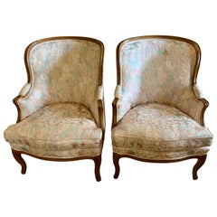 Pair of Scalamandre Wingback Louis XVI Tall Reading Parlor Chairs