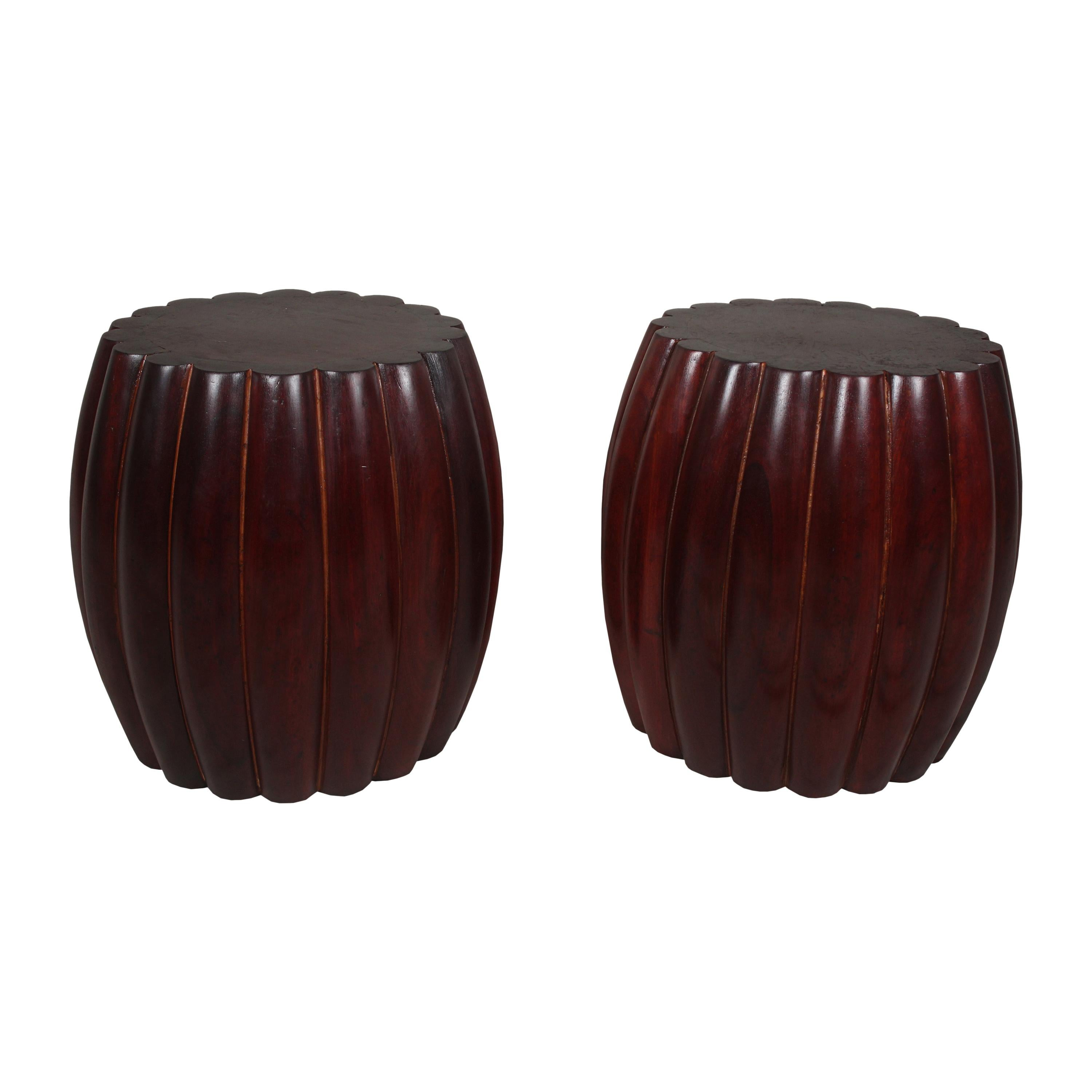Pair of Scallop-Edge Rosewood Side Tables or Stools