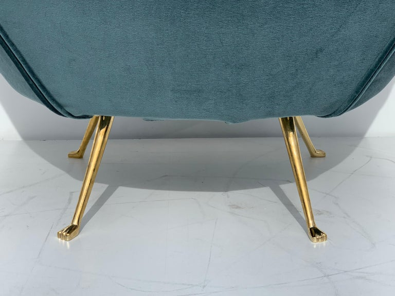 Pair of Scalloped Back Lounge Chairs with Brass Legs 13