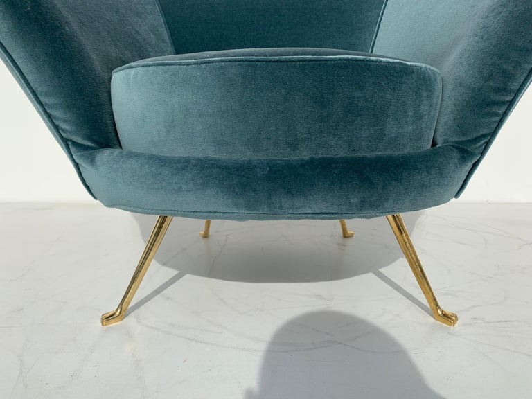 Pair of Scalloped Back Lounge Chairs with Brass Legs 14